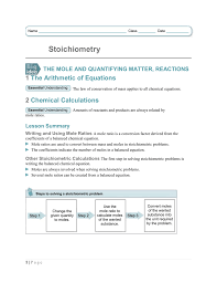 Summary Stochiometry