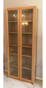 used ikea billy bookcase oak veneer w glass doors in castle point for 35 00 shpock