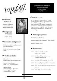 Interior Design Cv Example resume example
