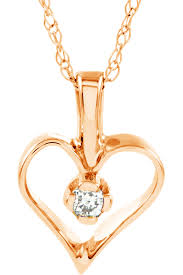 petite 14k rose gold diamond heart pendant necklace