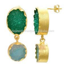 stylish design 24k gold plated green aqua agate druzy stone women drop earring jewelry whole