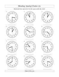 Math : analog time worksheets Teaching Analog Time Worksheets ...