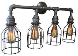 felix caged 4 light pipe vanity fixture industrial bathroom vanity lighting bathroom vanity lighting bathroom