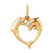 <b>Подвеска love</b> из золота c фианитами «Два дельфина ...