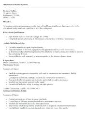 Resume For Maintenance Worker Mesmerizing Facility Maintenance Resumes Bire44andwap