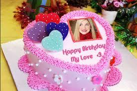 photo frame birthday cake and heart name