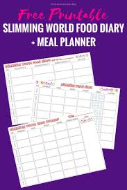 Slimming World Food Diary Printable Meal Planner