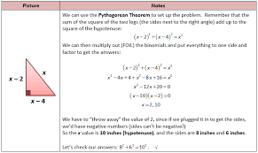 pythagorean theorem quadratic problem