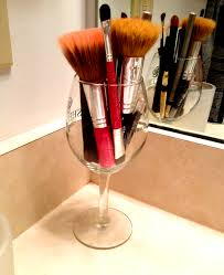 diy makeup brush storage try a wine gl