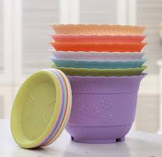 Big size pp resin plastic flower pot wavy lace lotus pots with tray  colorful potted flower ...