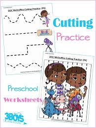 Doc McStuffins Preschool Cutting Practice – 3 Boys and a Dog