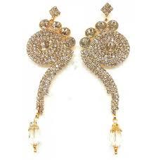 indian exclusive designer jewelry chandelier earrings in antique gold tone