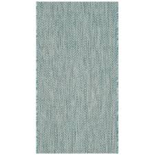 safavieh courtyard 2 3 x 12 power loomed rug in aqua and gray rugs carpets best canada