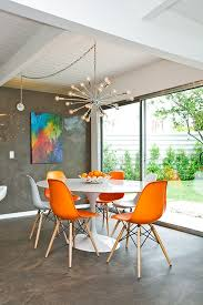 unique dining table themes for orange kitchen chairs exquisite orange eames chairs with tulip