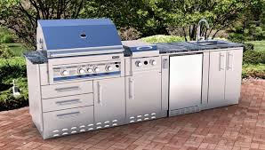 cute outdoor kitchen storage solutions with impressive bbq grill using sleek faucet for small backyard design with subway pavers