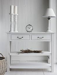 small cream console table. hallway white console table from the lighthouse hall furniture. narrow, slim and small tables with drawers cream
