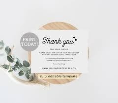 Business Thank You Card Template Business Thank You Card Editable Template Etsy Seller Thank 12