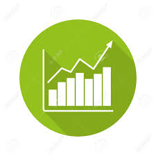 Market Growth Chart Flat Design Long Shadow Icon Diagram Business
