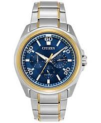 citizen eco drive watches macy s citizen eco drive men s calendrier two tone stainless steel bracelet watch 44mm bu2064