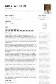 Dazzling Dentist Resume Format Sweet Samples Visualcv Database