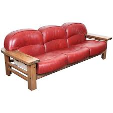 mid century modern red leather sofa by hämeen kaaja finland 1970 s for