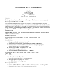 Sample Retail Customer Service Resume Free Resumes Tips