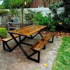 innovative metal and wood picnic table 25 best ideas about metal picnic tables on diy