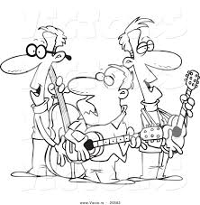 Vector of a Cartoon Folk Music Band - Coloring Page Outline by ...