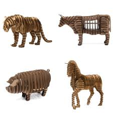 3d animal model paper jigsaw puzzle tiger horse bull pig diy papercarft cardboard papermaker gift pack
