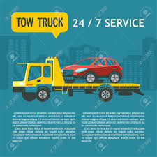 Tow Truck For Transportation Faulty Cars. Vector Illustration ...