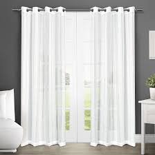 com exclusive home curtains apollo sheer grommet top window curtain panel pair winter white 50x96 home kitchen