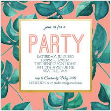 Tropical Party Invitations Tropical Leaf Summer Party Invitation Summer Party Invitations