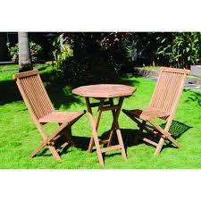 handmade vineyard teak folding ocon table and 2 chairs set indonesia