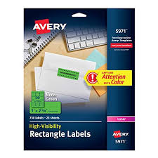avery 1 x 2 5 8 template avery high visibility 1 x 2 5 8 inch fluorescent green labels 750 pack 5971