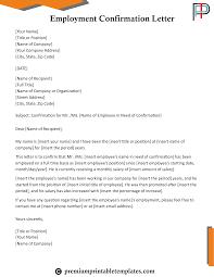 Letter Employment Employment Confirmation Letter Templates