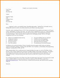 Awesome Collection Of Sample Of Finance Internship Cover Letter