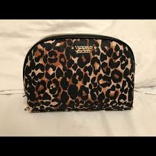 large victoria s secret cheetah print makeup bag
