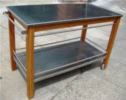 stainless steel kitchen island cart with butcher block and storage full size