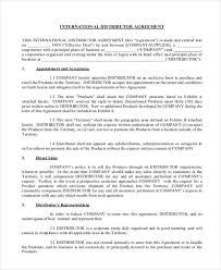 10 Distribution Agreement Form Samples Free Sample Example