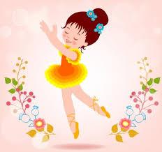 little ballerina dancing background colorful cute cartoon decoration