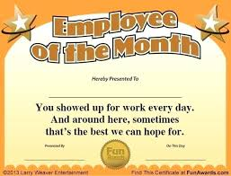 Printable Employee Of The Month Certificates Employee Of The Month Certificate Template Free Top New