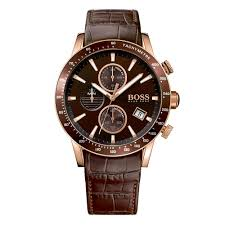hugo boss rose gold brown leather watch