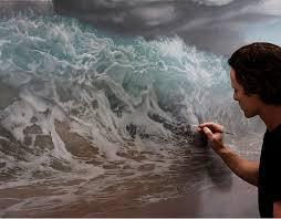 Surreal Paintings Men Fight With Waves In Joel Reas Surreal Paintings Art Sheep