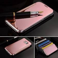 for samsung note 5 note 4 mirror leather case clear window view chrome flip cover case for galaxy note4 note5 n9100 n9200 reiko cell phone case western cell