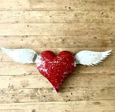 large recycled metal heart with white wings wall art on red metal heart wall art with large recycled metal heart with white wings wall art reclectic