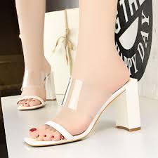 White Designer Shoes Heels 2018 Summer Luxury Women Fashion Thick High Heels White
