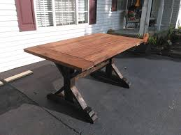 farmhouse table legs diy fresh white trestle inspirational rustic steps with frame wash dining black iron