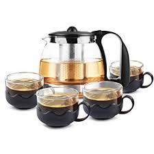 Amazon Com Apas Premium Glass Teapot Cup Set Rust Free