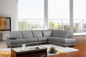 divani casa 208ang modern grey italian leather sectional sofa