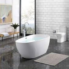 acrylic freestanding flatbottom non whirlpool oval soaking bathtub in white